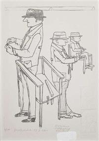 brustbild des vormals sitzenden dann stehenden (+ ohne titel, etching; 2 works) by romane holderried-kaesdorf