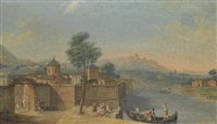 a capriccio view of a walled town with elegant figures on the river by francesco battaglioli
