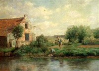 rural landscape with a cottage and two men beside a river by edmund elisha case