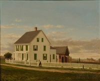 portrait of a farmhouse with green shutters and four figures by george frank higgins