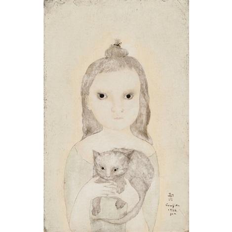 petite fille au chat by léonard tsuguharu foujita