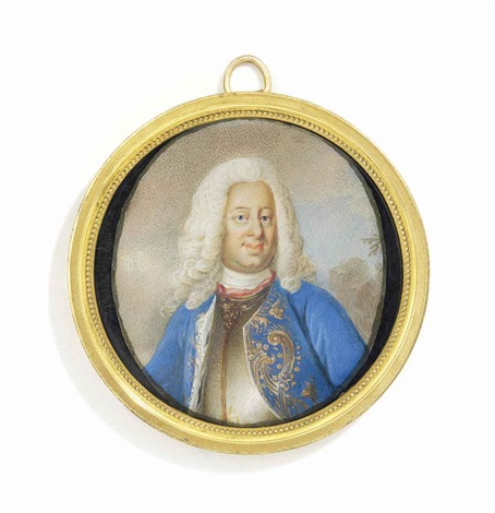 frederick i 1676 1751 king of sweden in gilt edged silver breastplate gold embroidered blue coat with ermine lining long powdered curling wig landscape background by niclas lafrensen the elder