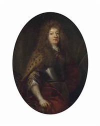 portrait of a nobleman, bust-length, in armour and fur-lined red mantle, wearing a lace cravat and a wig, his sword besides him by french school (17)