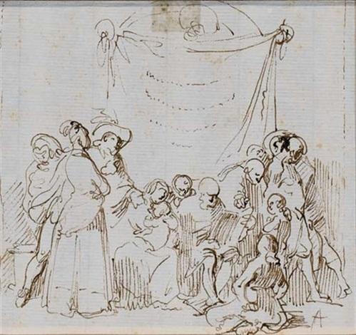 vieillard lisant entouré dhommes de femmes et denfants by leonardo alenza y nieto