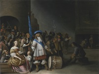 a guardroom interior with an officer, his men, a mother and child by anthonie palamedesz