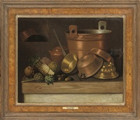 asparagus, cabbage, artichoke and pots on a table by e.r. lautter