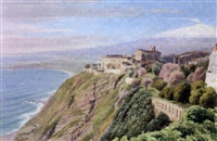 the augustine convent near catania, sicily, mt. etna behind by william james ferguson