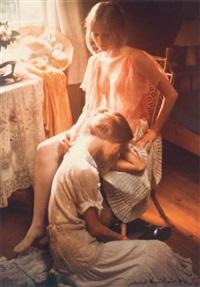 jeune femme reposant sa tête sur les genoux de son amie by david hamilton