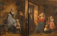 scène d'intérieur à la fileuse (+ scène d'intérieur à la lecture, smllr; 2 works) by charles fortin