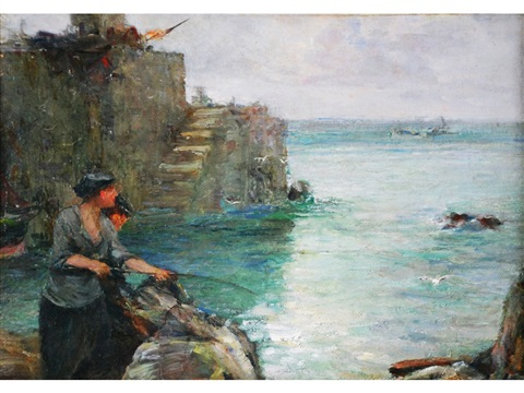 woman fishing from a harbour wall by john robertson reid