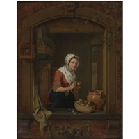 young woman at a window pealing radishes by jacobus johannes lauwers