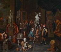 besucher im atelier des bildhauers by balthasar van den bossche