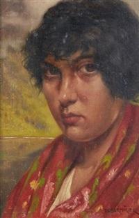 portrait de femme au châle rouge by franz obermüller
