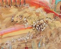 cortège royal, et la garde noire devant bab al-mansour, méknès by patrice laurioz