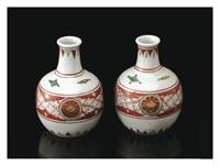 sake bottle with red circle patterns (two-pieces set) by kitaoji rosanjin