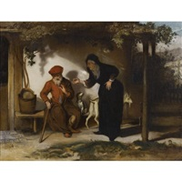 tobit and his wife anna with a goat by barent fabritius