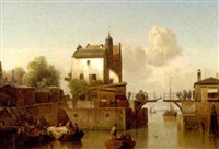 a canal with figures embarking on fishing boats and others on the locke by karl adloff