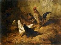 coq et poules by eugène cottin
