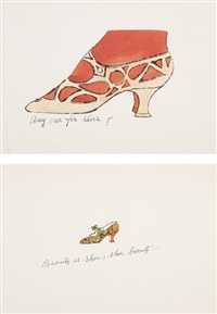 beauty is shoe, shoe beauty...; and any one for shoes?, from a la recherche du shoe perdu (2 works) by andy warhol