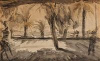palmiers en bord de mer (cannes?) by leopold-levy