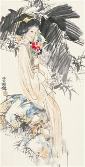 执扇少女 镜片 纸本 by lin yong