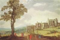 an extensive landscape with christ healing the centurion's servant by claes dircksz van der heck
