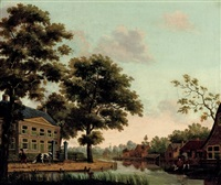 a town along a river with figures conversing and a man dragging a cow on a path by paulus constantijn la (la fargue) fargue