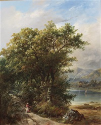 a figure on a road beside a loch by james ward