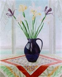 narcissen in paarse vaas by lodewijk bosch