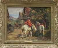 cavaliers à la fontaine by raymond desvarreux-larpenteur