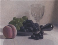 grapes and peach by jacques blanchard