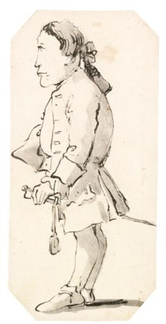 caricature of a gentleman holding a tricorn hat under his arm and wearing a sword by giovanni battista tiepolo