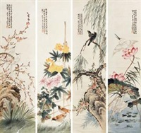 花鸟 (4 works) by wang rong