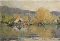 autumn lake scene by george garden colville