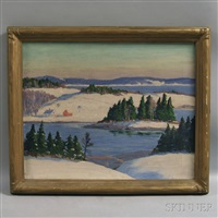 winter fields and harbor, maine coast by john nichols haapanen