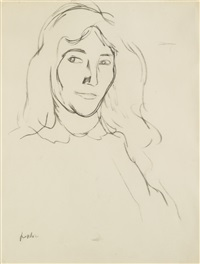 woman with long hair by samuel john peploe