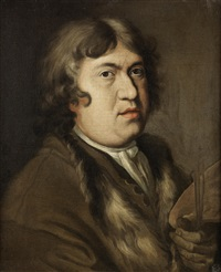 self-portrait of the artist, bust-length, holding a palette by francesco leonardoni