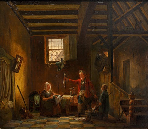 interior scene with fisherman presenting his catch by jacob jacobs