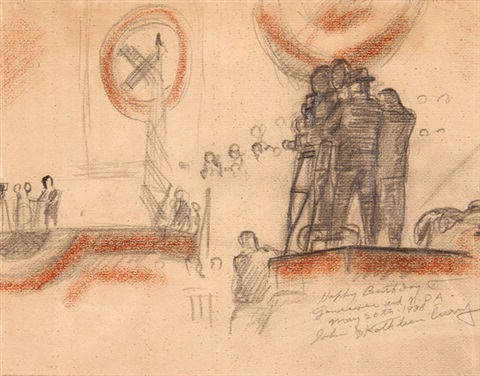 sketch for progressive party rally by john steuart curry