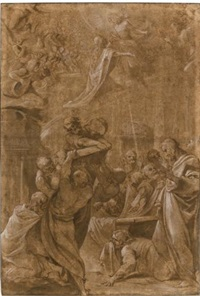 the apostles at the tomb of the virgin by lodovico carracci