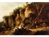 felsige landschaft mit wasserfall, einer rastenden gruppe und zwei ziehenden bauern by gysbert gillisz de hondecoeter