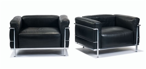 couch and club chairs model nos grand modele lc3 and grand confort lc3 set of 3 by le corbusier. Black Bedroom Furniture Sets. Home Design Ideas