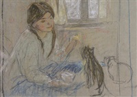 girl with her cat by mary alexandra eastlake