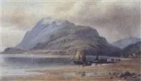 bergige küste mit segelbooten by m. freeman (miss) kempson