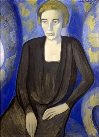 lady in blue armchair by viktor rafael gyözö