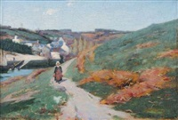 paysanne au chemin, pont-aven by john willard raught