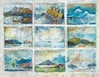 nordlandskaper (9 works on 1 sheet) by lind-arnold solstadt