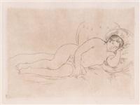 femme nue couchée (tournée à droite) by pierre-auguste renoir