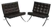 two mies van der rohe barcelona chairs manufactured for knoll by ludwig mies van der rohe