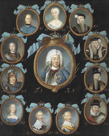 a frame containing twelve oval portraits of members of the swedish royal family within gilt surrounds coronet and blue ribbon surmounts by niclas lafrensen the elder